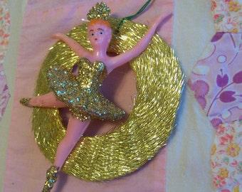 gold glitter ballerina ornament