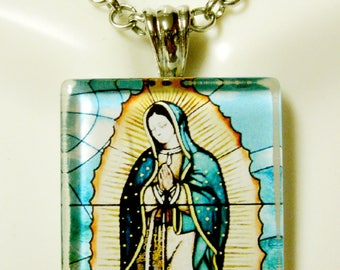 Our Lady of Guadalupe glass pendant with chain - GP08-023
