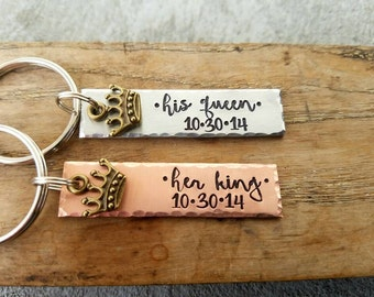 Personalized hand stamped MATCHING SET couples keychains. custom Valentines gift. anniversary gift. His and hers gift. boyfriend keychain
