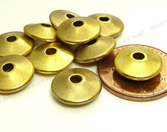 12mm Antique Gold Tone Disc Beads - 20pcs - Round Saucer, Rondelle, Spacer Beads - BP10