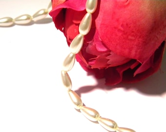 glass beads Pearl, Pearl drop 8 mm White Pearl, Pearl glass beads 15, 4 H56