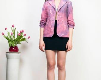 Pink Galaxy blazer 90s vintage reworked hand painted tie dye jacket