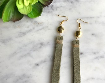Long Leather Rectangle Earrings