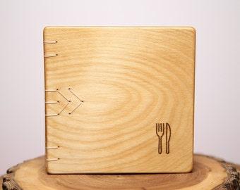 cook book - handmade wood notebook