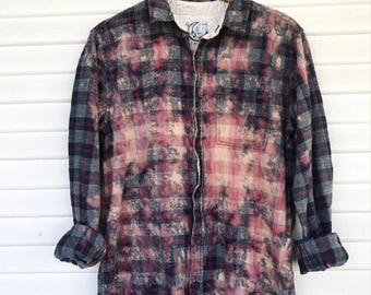 LARGE - Flannel Shirt - Bleached - Vintage Washed Flannel - Oversized Flannel - Distressed Flannel - Plaid Shirt - Fall Shirt - #107 BM