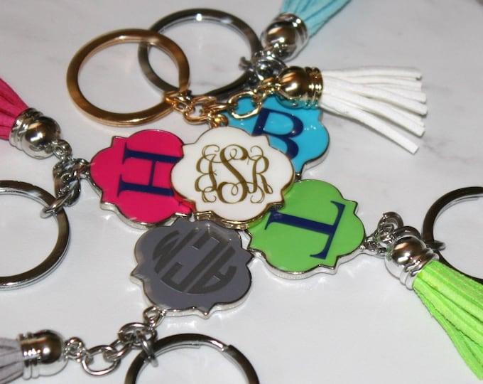 Monogrammed Tassel Keychain