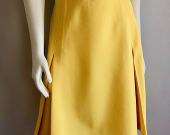 Vintage Women's 70's Yellow, A Line Skirt, Polyester by Montgomery Ward (L)