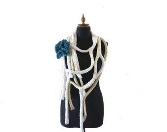 Hand knit Scarf - Knit Flower Brooch - Knit Lariat - Warm Scarf - Winter accessory - Gift For Her - Neckwarmer - Cream Scarf - Cobweb Cowl