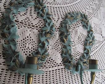 Candlestick holders Green Ivy PR Brass Wall Sconces Candle Holders Green Ivy Candle Stick Holders Wall Sconces Brass Decor Cottage Decor
