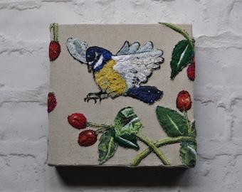 Bluetit and rosehips embroidery, flying bluetit, embroidered bird, British garden bird, bird fibre art, bluetit wall art, bluetit canvas