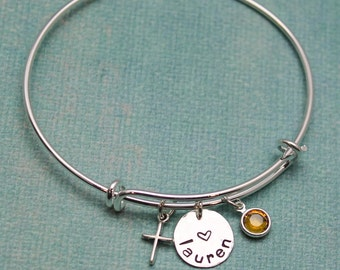 Personalized Confirmation Bangle, Communion Bracelet, Confirmation Gift, with Date Cross Adjustable Bangle Hand Stamped Sterling Silver