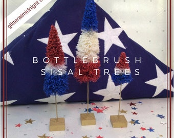 4th of July Bottlebrush Trees ( Set of 3 ) Red White & Blue Northern Pines !