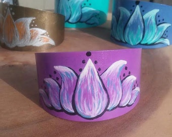 Hand Painted Purple Lotus Flower Metal Bracelet Cuff