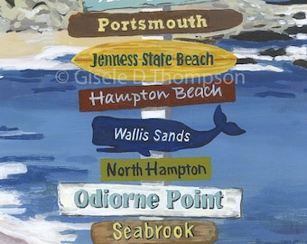 NH Signpost Poster, NH Seacoast, Portsmouth, Hampton Beach, New Castle, Rye, Seabrook, Wallis Sands 11x17 or 8x12 print