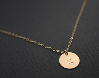 Personal Single Disk Necklace All GOLD FILLED - engraved necklace, Cute simple look, everyday wear, birthday mothers day, Christmas gift
