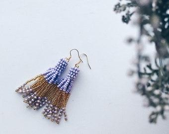 Beaded tassel earrings - Purple & gold