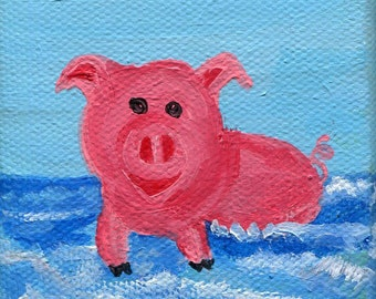 Swimming pig mini canvas art, Original mini painting on Canvas with Easel, pig enjoying the ocean, art