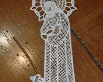 Embroidered Bookmark  -  Jesus with Lamb -  White