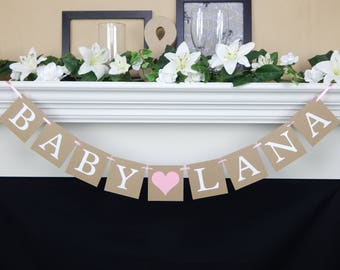 Baby name banner, baby shower banner, its a girl, custom name sign, baby shower decorations, baby girl banner, baby boy banner, its a boy