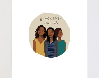 Black Lives Matter Portrait Illustration Art Print