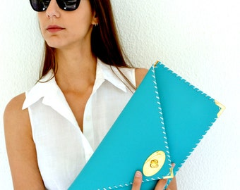 Turquoise leather clutch / Handmade leather bag / Light blue envelope clutch