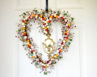 Kitchen heart wreath Red, Pink, Cream & yellow paper roses Spring Summer wreath Year round decor Front door wreath Grandmas Kitchen
