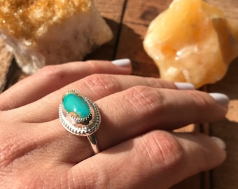 Royston ribbon Turquoise ring, Sterling silver 925, one of kind ring, boho jewelry,  handmade turquoise ring, size 6.5