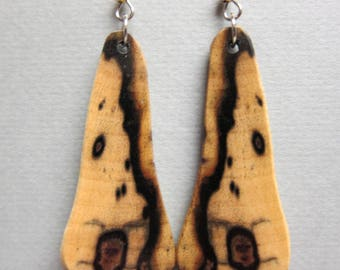 Unique Shape Black and White Ebony Earrings Exotic Wood Drop Earrings ExoticwoodJewelryAnd Ecofriendly