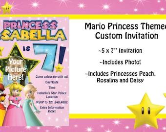 Mario Princess Themed Birthday Invitation