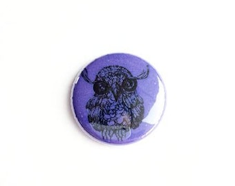 "owl Button -  Pin - owls - 1"" Pin Back Button - Collectible -  Button - owl Button -  bears Button"