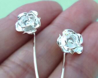 Rose flower earrings sterling silver earrings jewelry dangle earrings cute small stud earrings long stem earrings unique wedding E-094