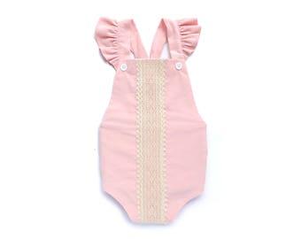Boho Baby Romper Baby Ruffle Romper Baby Ruffled Romper Baby Boho Romper Bubble Romper Ruffle Rompers Boho Bubble Romper Ruffled Romper Pink