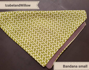 Bespoke Pet dog bandana green/ grey xmas collection tree resersable Fit  over collar small Made in uk IzabelandWillow