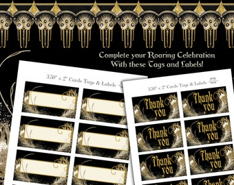 Roaring 20s Party Tags and Labels
