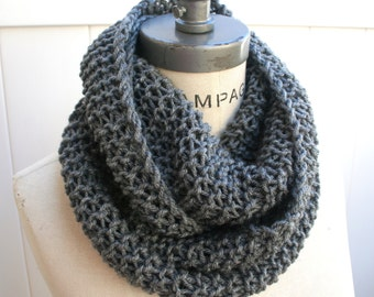 Most sold best selling shops item, grey Gray  knit Scarf, handKnit hand knitted Infinity Scarf, Gifts Guide, Lightweight scarf   - By PIYOYO