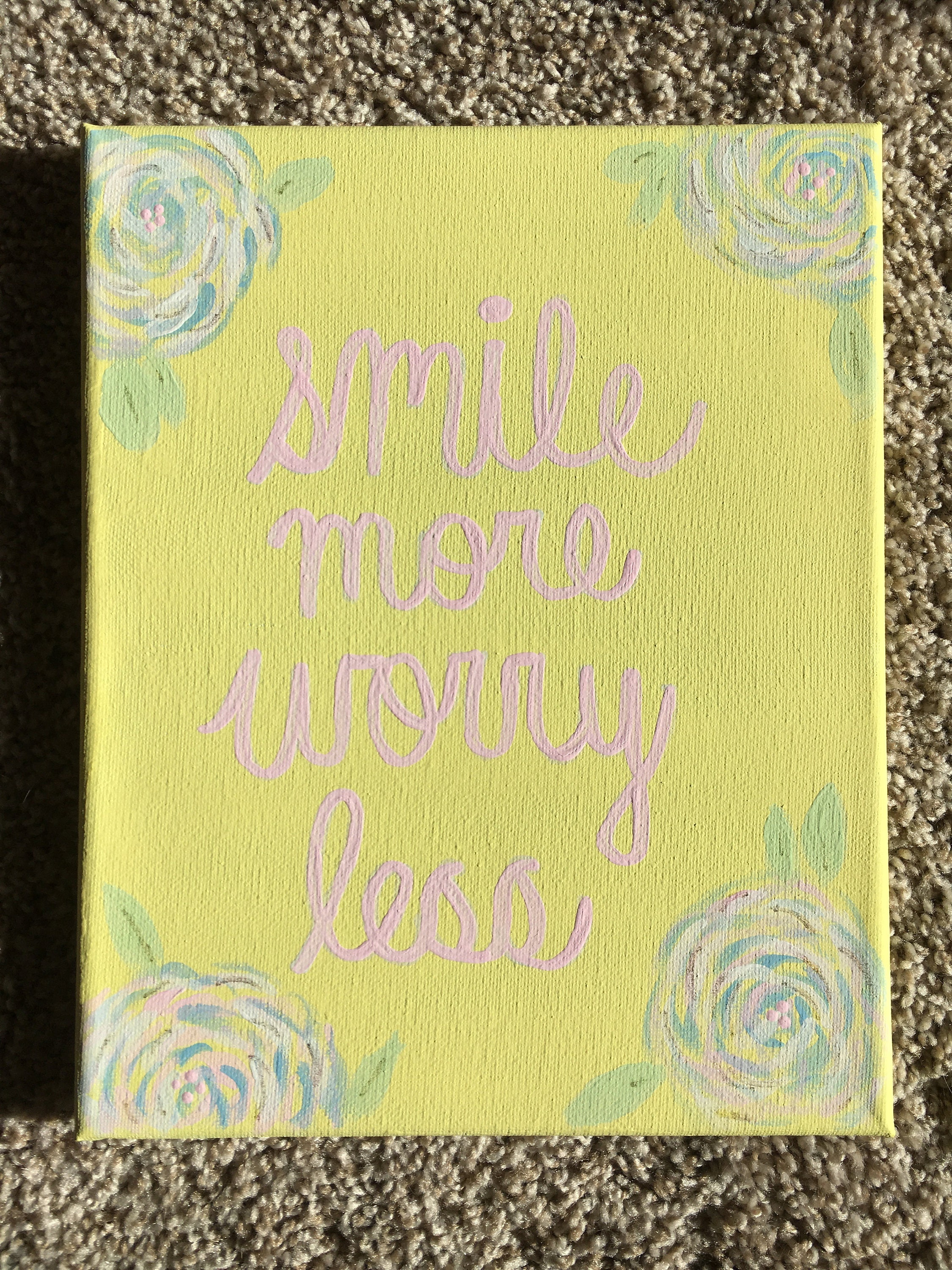 Smile More Worry Less Canvas // Quote // Pastel // Floral //