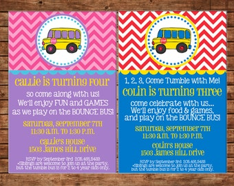 Boy or Girl Invitation Bus Birthday Party - Can personalize colors /wording - Printable File or Printed Cards