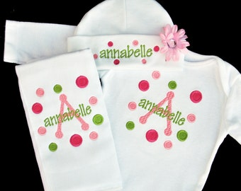 Matching Embroidered Polka Dot Baby Girl Bodysuit Hat and Burpcloth (OR Bib) Set with Flower