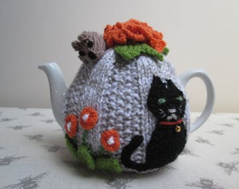 Hand Knitted Small Cat And Mouse Tea Cosy ~ Ready To Ship