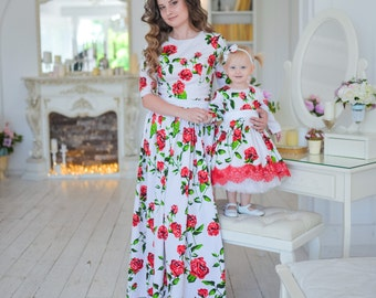 Mommy and Me dresses Floral Maxi Dresses Outfits, Mother Daughter Maxi matching dress Floor length Matching Mother Daughter Cotton Dress
