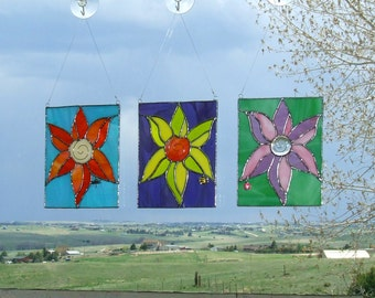 Pretty Posy Trio of Stained Glass Colorful Flowers For Your Window, Wall Or Patio
