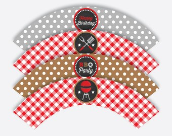 Instant Download, Barbeque Cupcake Wrappers, BBQ Cupcake Wrappers, BBQ Wrappers, Barbeque Party Decoration, bbq Printable,Chalkboard(CKB.75)