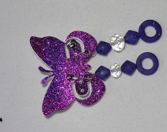 purple Swarovski Element crystal earrings