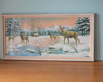 Vintage Mid century  deer stag kitsch framed print