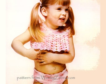 Vintage Crochet Toddler Shell Bikini Pattern PDF B076 from WonkyZebra