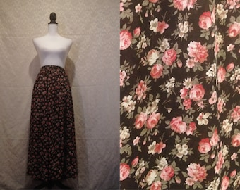 1970s 80s Black Floral Rose Print Romantic Garden Sheer See Through Maxi Skirt Spring Summer Boho Hippie L-XL