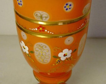 vintage orange Bohemian Czech orange cut glass goblet