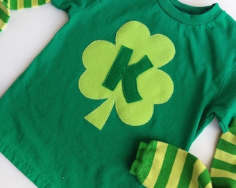 St. Patrick's Day Green Shamrock Initial T-Shirt & Striped Leg Warmers for babies, kids and toddlers