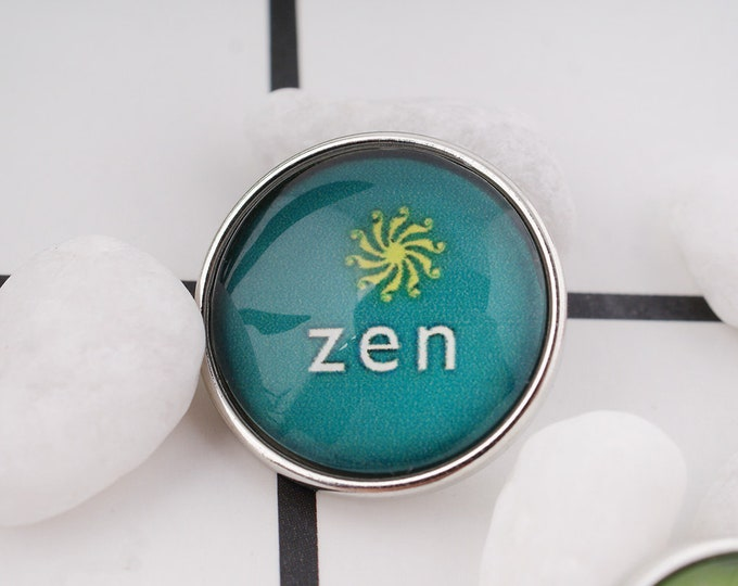 Zen Snap - Zen Yoga Snap - Noosa Snap - Compatible with Gingersnaps - - Ginger Snaps -  Magnolia and Vine - Noosa 18-20mm Base - Glass Dome