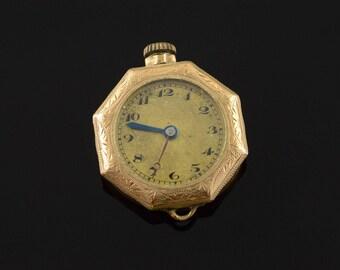 25mm Octagonal Pendant Pocket Watch Gold Filled